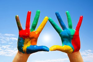Painted hands, colorful fun