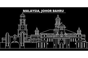 Johor Bahru silhouette skyline. Malaysia - Johor Bahru vector city, malaysian linear architecture. Johor Bahru travel illustration, outline landmarks. Malaysia flat icon, malaysian line banner