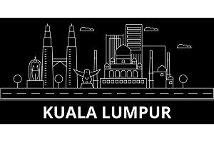 Kuala lumpur silhouette skyline. Malaysia - Kuala lumpur vector city, malaysian linear architecture. Kuala lumpur travel illustration, outline landmarks. Malaysia flat icon, malaysian line banner