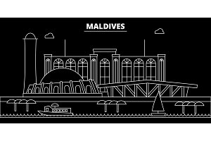Maldives silhouette skyline, vector city, maldivian linear architecture, buildings. Maldives travel illustration, outline landmarkflat icon, maldivian line banner