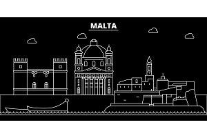 Malta silhouette skyline, vector city, maltese linear architecture, buildings. Malta travel illustration, outline landmarkflat icon, maltese line banner