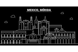Merida silhouette skyline. Mexico - Merida vector city, mexican linear architecture, buildings. Merida line travel illustration, landmarks. Mexico flat icon, mexican outline design banner