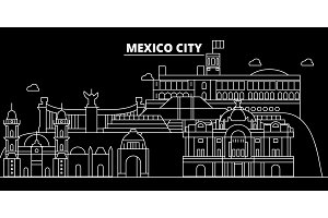 Mexico silhouette skyline, vector city, mexican linear architecture, buildings. Mexico travel illustration, outline landmarkflat icon, mexican line banner