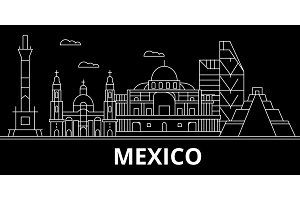 Mexico silhouette skyline, vector, city, mexican linear architecture, buildings. Mexico travel illustration, outline landmarkflat icon, mexican line banner