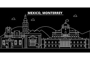 Monterrey silhouette skyline. Mexico - Monterrey vector city, mexican linear architecture, buildings. Monterrey travel illustration, outline landmarks. Mexico flat icon, mexican line banner