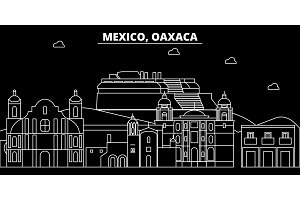 Oaxaca silhouette skyline. Mexico - Oaxaca vector city, mexican linear architecture, buildings. Oaxaca travel illustration, outline landmarks. Mexico flat icon, mexican line banner