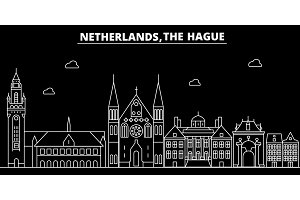The Hague silhouette skyline. Netherlands - The Hague vector city, dutch linear architecture, buildings. The Hague travel illustration, outline landmarks. Netherlands flat icon, dutch line banner