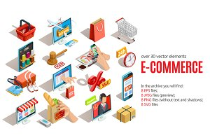 Sale! Isometric E-commerce Set