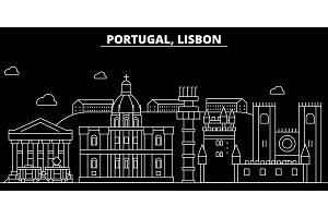 Lisbon silhouette skyline. Portugal - Lisbon vector city, portuguese linear architecture, buildings. Lisbon travel illustration, outline landmarks. Portugal flat icon, portuguese line banner