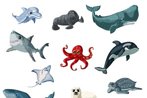 Cartoon Underwater Animals Set