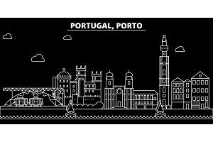 Porto silhouette skyline. Portugal - Porto vector city, portuguese linear architecture, buildings. Porto travel illustration, outline landmarks. Portugal flat icon, portuguese line banner