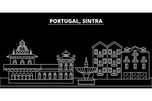 Sintra silhouette skyline. Portugal - Sintra vector city, portuguese linear architecture, buildings. Sintra travel illustration, outline landmarks. Portugal flat icon, portuguese line banner