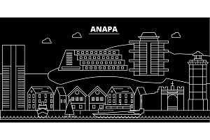 Anapa silhouette skyline. Russia - Anapa vector city, russian linear architecture, buildings. Anapa travel illustration, outline landmarks. Russia flat icon, russian line banner