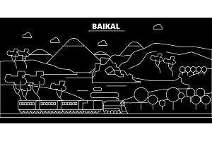 Baikal silhouette skyline. Russia - Baikal vector city, russian linear architecture, buildings. Baikal travel illustration, outline landmarks. Russia flat icon, russian line banner