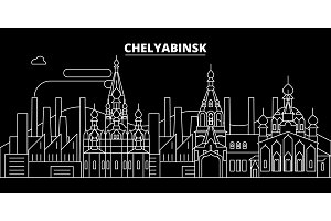 Chelyabinsk silhouette skyline. Russia - Chelyabinsk vector city, russian linear architecture, buildings. Chelyabinsk travel illustration, outline landmarks. Russia flat icon, russian line banner