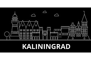 Kaliningrad silhouette skyline. Russia - Kaliningrad vector city, russian linear architecture, buildings. Kaliningrad travel illustration, outline landmarks. Russia flat icon, russian line banner