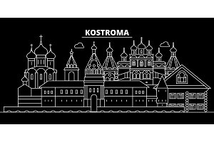 Kostroma silhouette skyline. Russia - Kostroma vector city, russian linear architecture, buildings. Kostroma travel illustration, outline landmarks. Russia flat icon, russian line banner