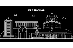 Krasnodar silhouette skyline. Russia - Krasnodar vector city, russian linear architecture, buildings. Krasnodar travel illustration, outline landmarks. Russia flat icon, russian line banner