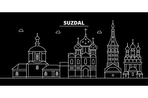Suzdal silhouette skyline. Russia - Suzdal vector city, russian linear architecture, buildings. Suzdal travel illustration, outline landmarks. Russia flat icon, russian line banner