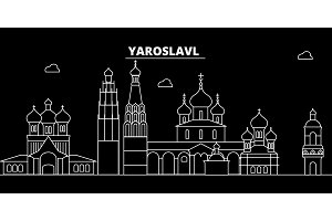 Yaroslavl silhouette skyline. Russia - Yaroslavl vector city, russian linear architecture, buildings. Yaroslavl travel illustration, outline landmarks. Russia flat icon, russian line banner