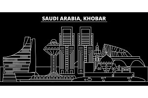 Khobar silhouette skyline. Saudi Arabia - Khobar vector city, saudi arabian linear architecture. Khobar travel illustration, outline landmarks. Saudi Arabia flat icon, saudi arabian line banner