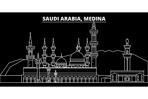 Medina silhouette skyline. Saudi Arabia - Medina vector city, saudi arabian linear architecture. Medina travel illustration, outline landmarks. Saudi Arabia flat icon, saudi arabian line banner