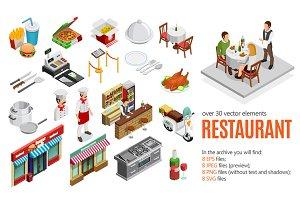 Restaurant Isometric Set