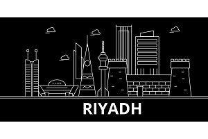 Riyadh silhouette skyline. Saudi Arabia - Riyadh vector city, saudi arabian linear architecture. Riyadh travel illustration, outline landmarks. Saudi Arabia flat icon, saudi arabian line banner