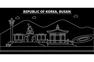 Busan silhouette skyline. South Korea - Busan vector city, korean linear architecture, buildings. Busan travel illustration, outline landmarks. South Korea flat icon, korean line banner