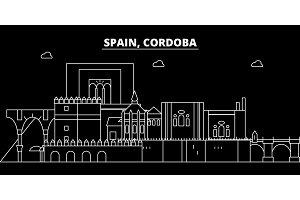 Cordoba silhouette skyline. Spain - Cordoba vector city, spanish linear architecture, buildings. Cordoba travel illustration, outline landmarks. Spain flat icon, spanish line banner