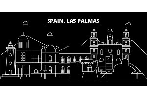 Las Palmas silhouette skyline. Spain - Las Palmas vector city, spanish linear architecture, buildings. Las Palmas travel illustration, outline landmarks. Spain flat icon, spanish line banner