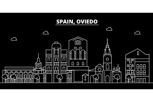 Oviedo silhouette skyline. Spain - Oviedo vector city, spanish linear architecture, buildings. Oviedo travel illustration, outline landmarks. Spain flat icon, spanish line banner