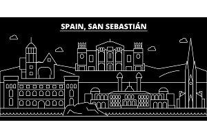 San Sebastian silhouette skyline. Spain - San Sebastian vector city, spanish linear architecture. San Sebastian line travel illustration, landmarks. Spain flat icon, spanish outline design banner