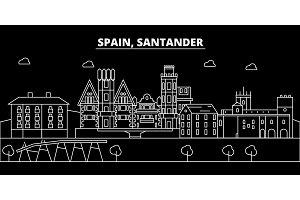 Santander silhouette skyline. Spain - Santander vector city, spanish linear architecture, buildings. Santander travel illustration, outline landmarks. Spain flat icon, spanish line banner