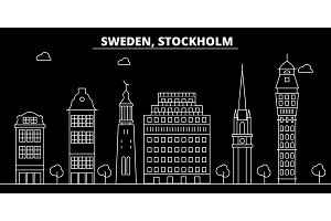 Stockholm silhouette skyline. Sweden - Stockholm vector city, swedish linear architecture, buildings. Stockholm travel illustration, outline landmarks. Sweden flat icon, swedish line banner