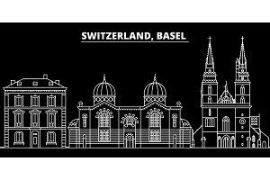 Basel silhouette skyline. Switzerland - Basel vector city, swiss linear architecture, buildings. Basel travel illustration, outline landmarks. Switzerland flat icon, swiss line banner