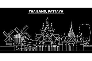 Pattaya silhouette skyline. Thailand - Pattaya vector city, thai linear architecture, buildings. Pattaya line travel illustration, landmarks. Thailand flat icon, thai outline design banner