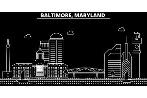 Baltimore silhouette skyline. USA - Baltimore vector city, american linear architecture, buildings. Baltimore travel illustration, outline landmarks. USA flat icon, american line banner