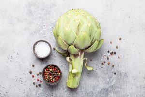 Fresh artichoke with seasonings