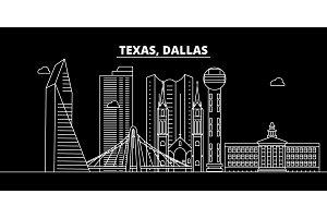 Dallas silhouette skyline. USA - Dallas vector city, american linear architecture, buildings. Dallas travel illustration, outline landmarks. USA flat icon, american line banner
