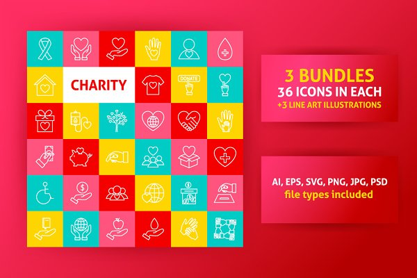 Charity Line Icons