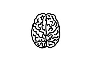 Web line icon. Human brain black