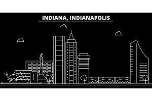 Indianapolis silhouette skyline. USA - Indianapolis vector city, american linear architecture, buildings. Indianapolis travel illustration, outline landmarks. USA flat icon, american line banner