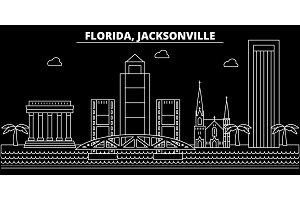 Jacksonville silhouette skyline. USA - Jacksonville vector city, american linear architecture, buildings. Jacksonville travel illustration, outline landmarks. USA flat icon, american line banner