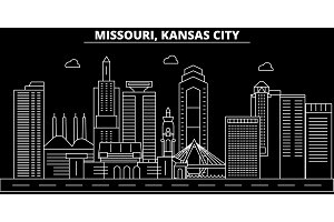 Kansas City silhouette skyline. USA - Kansas City vector city, american linear architecture, buildings. Kansas City travel illustration, outline landmarks. USA flat icon, american line banner