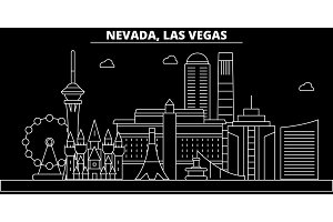Las Vegas silhouette skyline. USA - Las Vegas vector city, american linear architecture, buildings. Las Vegas travel illustration, outline landmarks. USA flat icon, american line banner