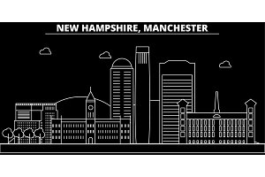 Manchester silhouette skyline. USA - Manchester vector city, american linear architecture, buildings. Manchester travel illustration, outline landmarks. USA flat icon, american line banner