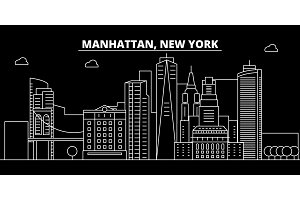 Manhattan silhouette skyline. USA - Manhattan vector city, american linear architecture, buildings. Manhattan travel illustration, outline landmarks. USA flat icon, american line banner