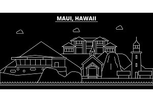 Maui silhouette skyline. USA - Maui vector city, american linear architecture, buildings. Maui travel illustration, outline landmarks. USA flat icon, american line banner