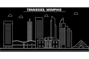 Memphis silhouette skyline. USA - Memphis vector city, american linear architecture, buildings. Memphis travel illustration, outline landmarks. USA flat icon, american line banner